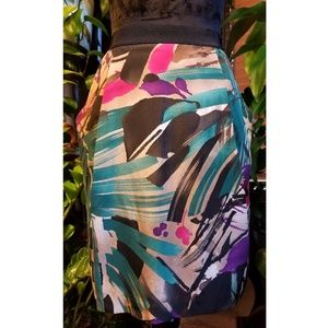 Ann Taylor Silk Abstract Mini Skirt